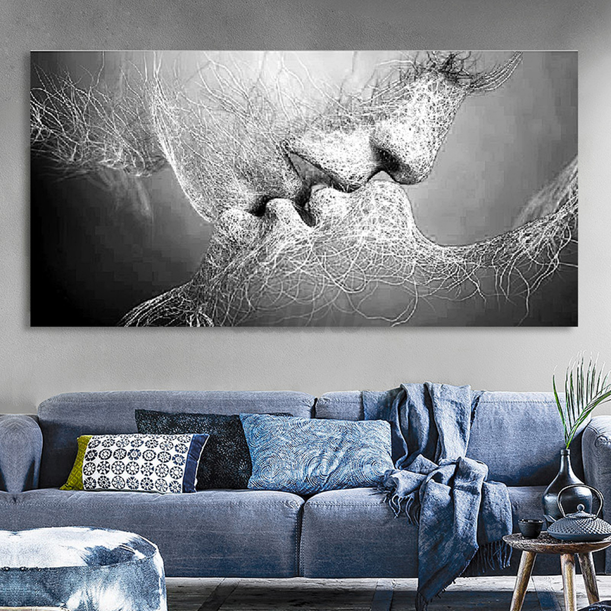 Black white love kiss abstract art on canvas painting for White wall art