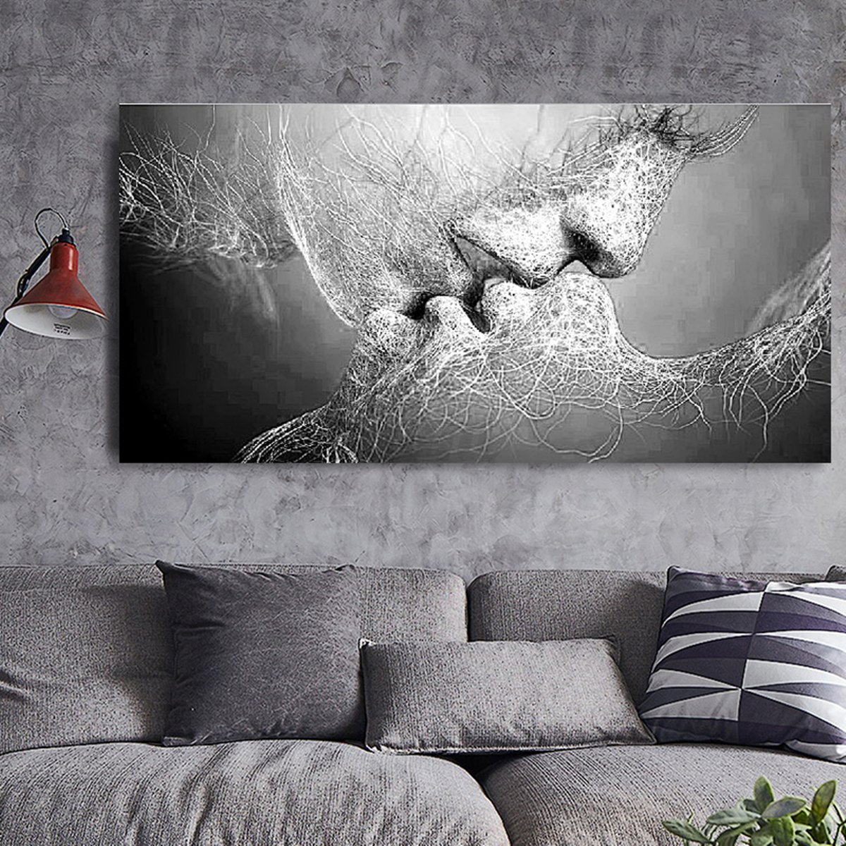 Black White Love Kiss Abstract Art On Canvas Painting