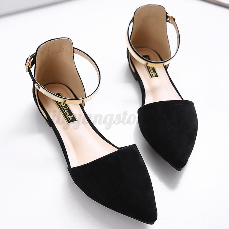 db60b0da2ce2a6 2018 Women s Pointed Toe Ankle Strap Shoes Ballet Flats Spring ...