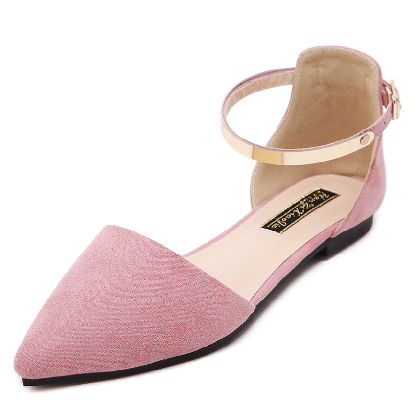 75a16371449ac6 2018 Women s Pointed Toe Ankle Strap Shoes Ballet Flats Spring ...