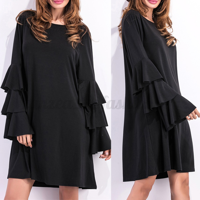 UK-8-24-ZANZEA-Women-Ruffled-Flounced-Long-Sleeve-Casual-Loose-Mini-Dress-Plus