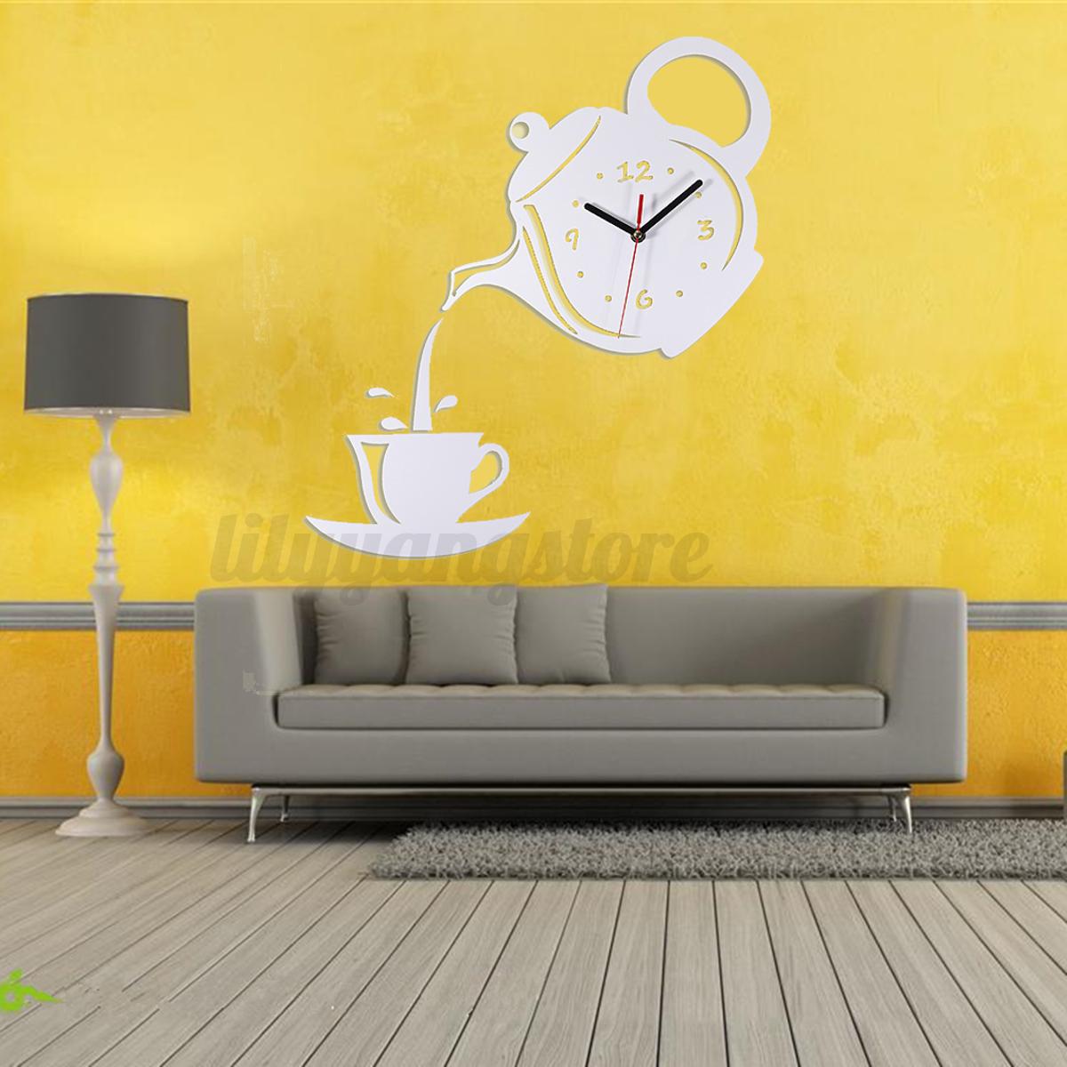 Acr lico modern blanco tetera cuarzo reloj de pared diy - Reloj pared adhesivo ...