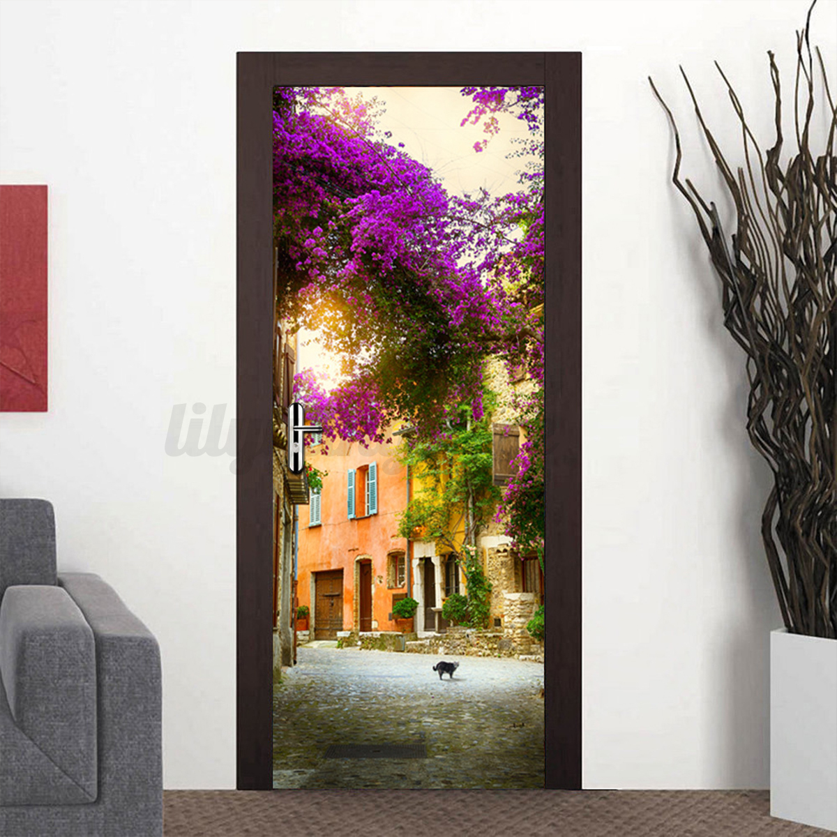 3d door wall fridge sticker decals wrap mural scenery self for Home decor 3d stickers