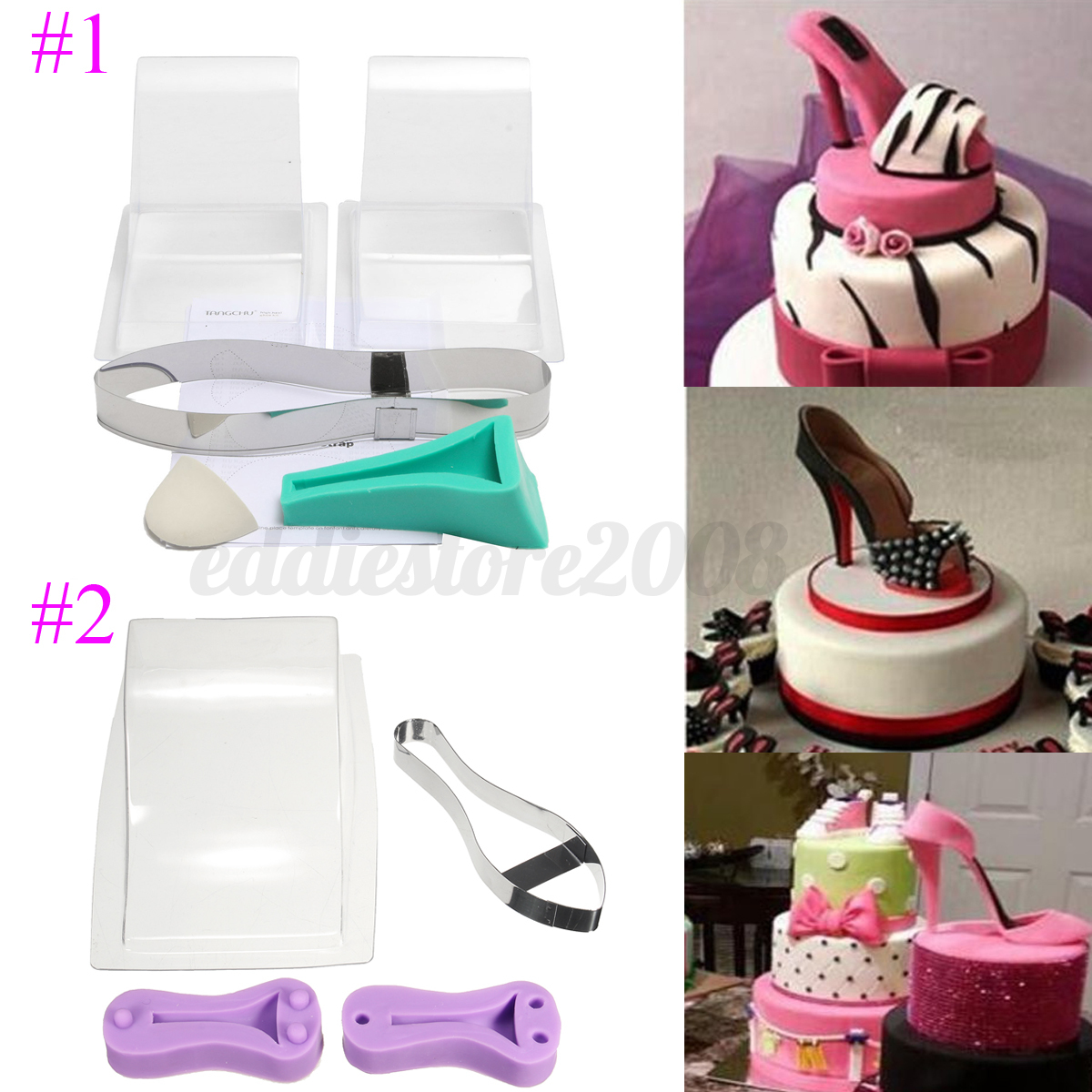 high heel shoe kit silicone fondant cake mould template