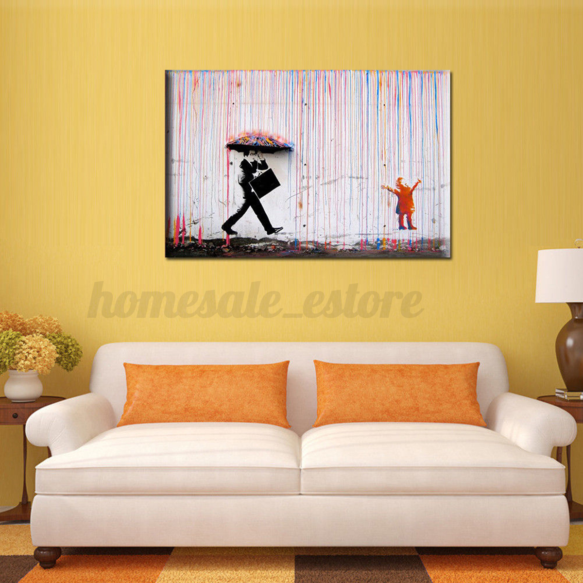 Modern Vogue Rain WALK Art On Canvas Watercolor Painting Wall Decor ...
