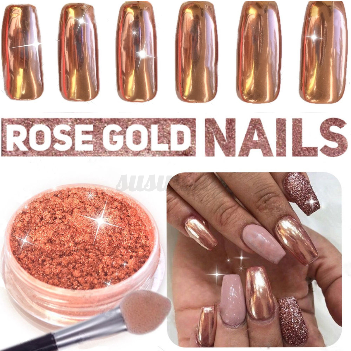 5x rose gold nail mirror powder nails glitter chrome for Decoration maison rose gold