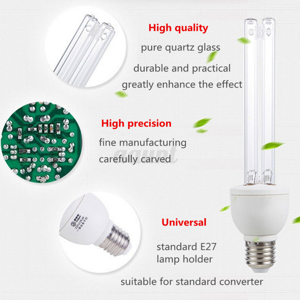 20W Ultraviolet Disinfection Lamp 220V E27 UVC Ozone Sterilization ...