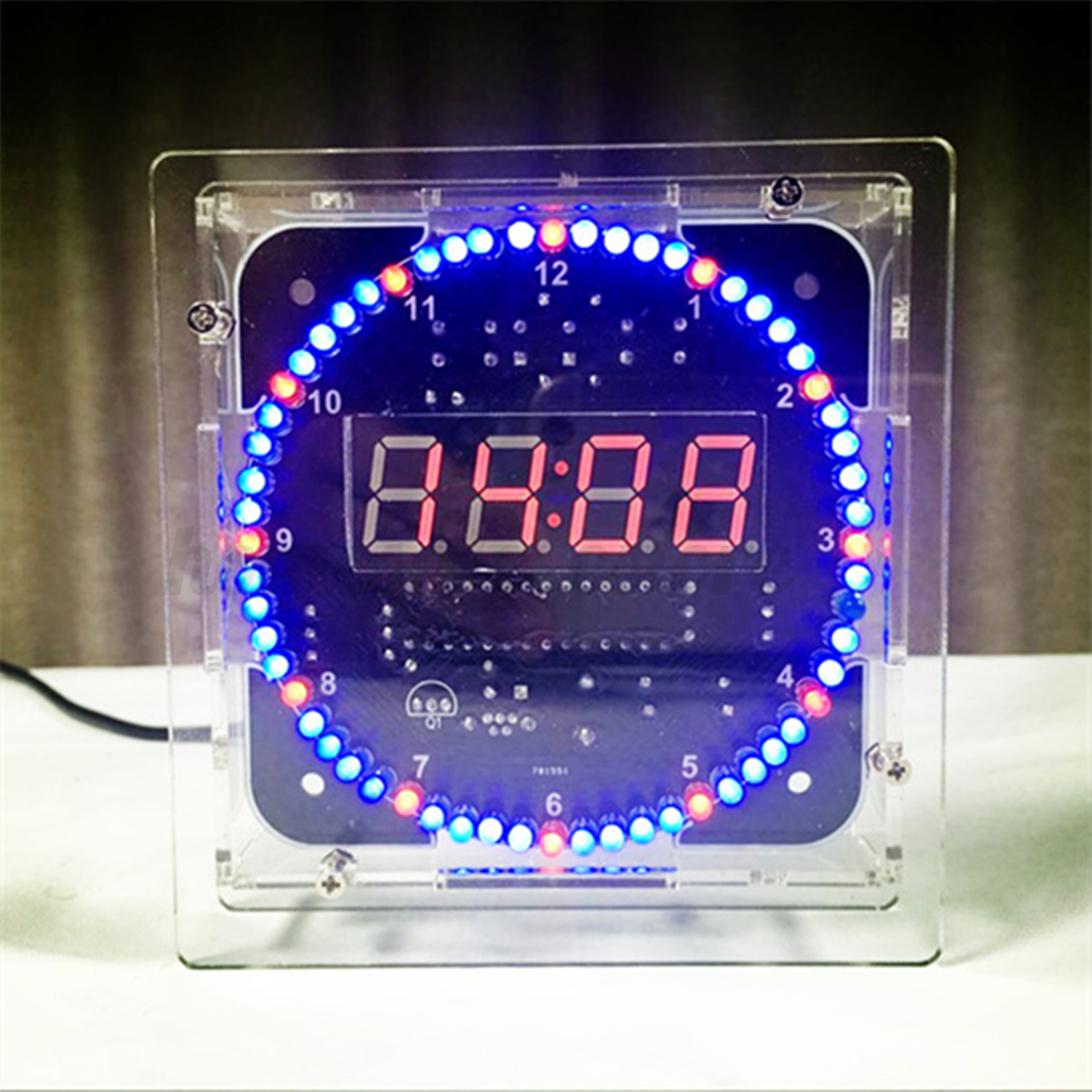 rotating led electronic temperature display digital clock diy learning kit box ebay. Black Bedroom Furniture Sets. Home Design Ideas