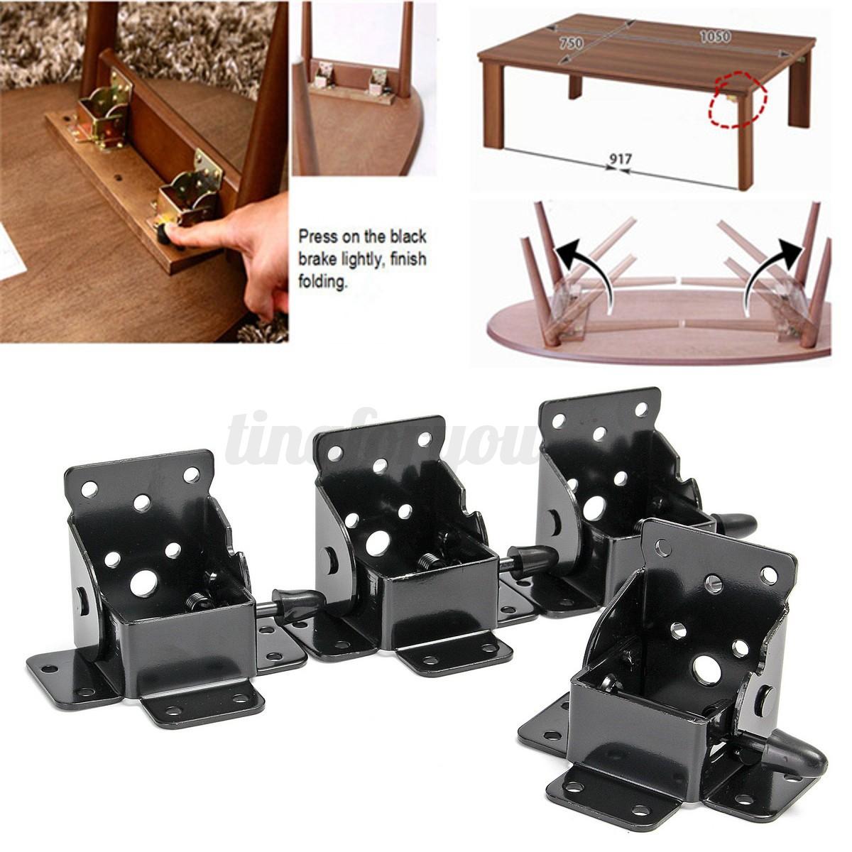 4pcs set 4 types diy self locking folding bracket folding table leg feet hinges ebay. Black Bedroom Furniture Sets. Home Design Ideas
