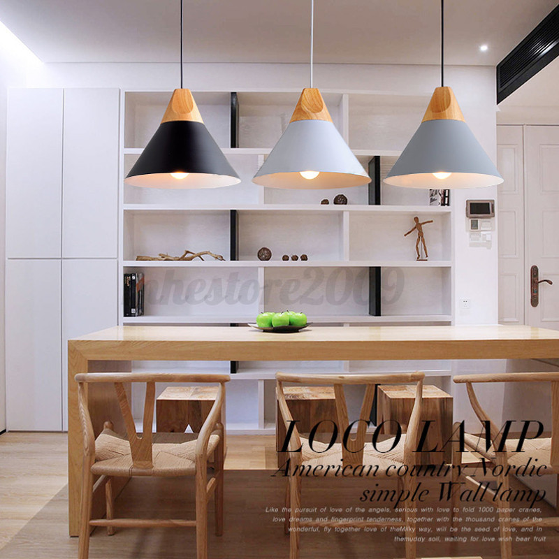 E27 Simple Wood Pendant Ceiling Hanging Lamp Chandelier