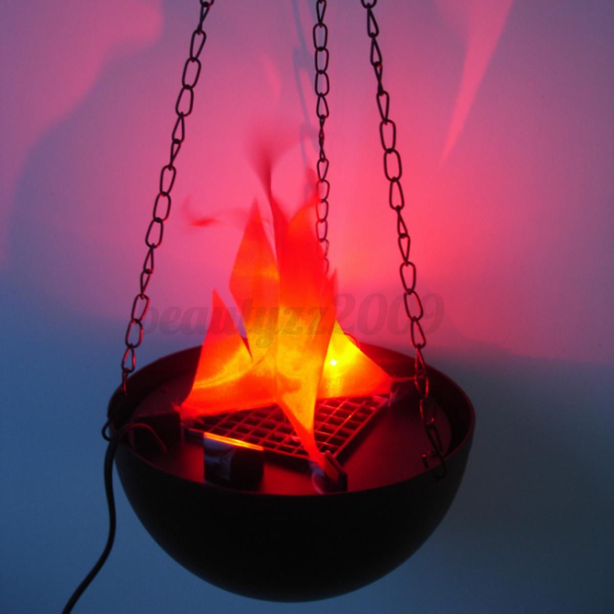 LED Hanging Fake Flame Lamp Fire Pit Bowl Halloween Xmas ...