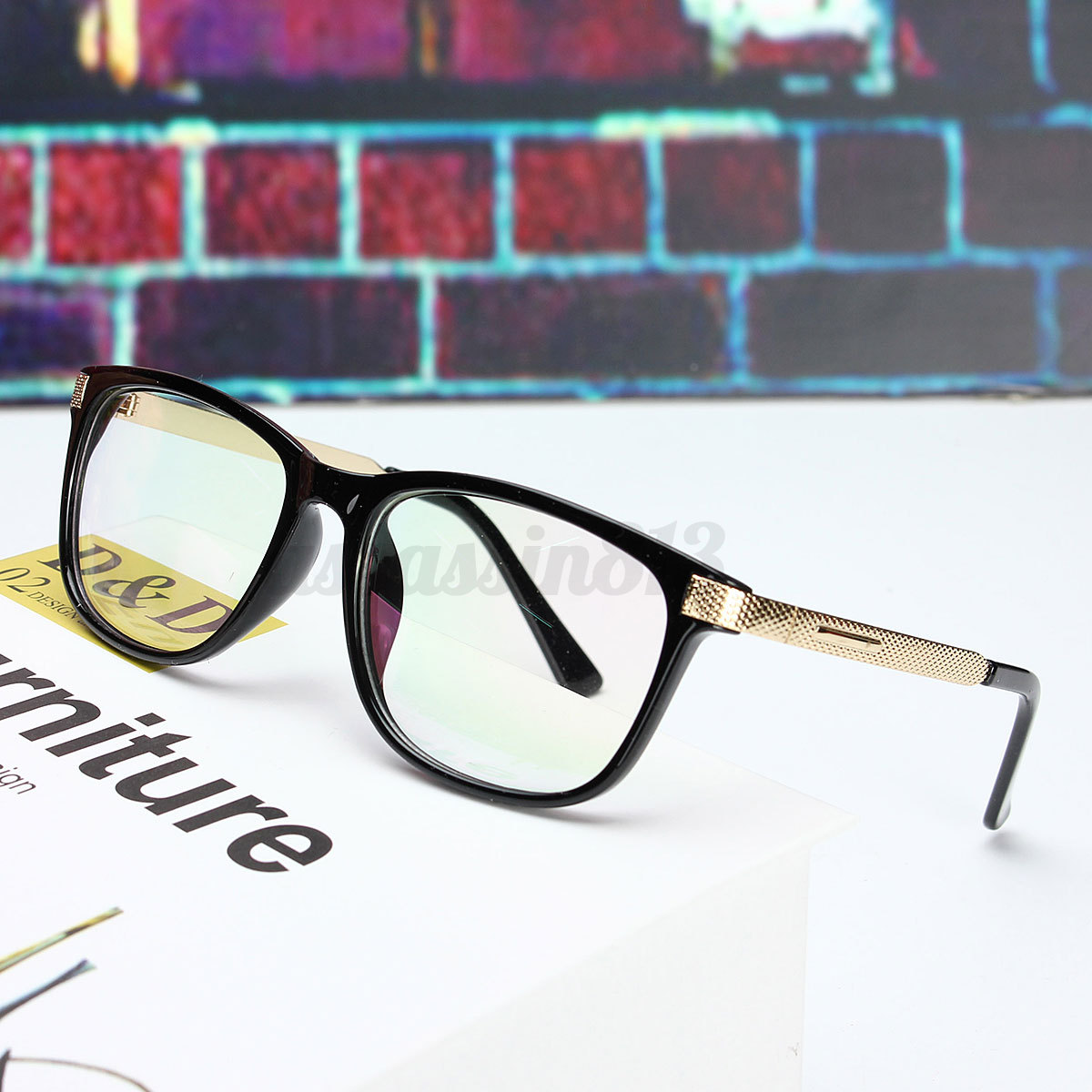 d78a7be9c25 Details about Retro Unisex Eyeglass Frame Full-Rim Glasses Clear Lens Metal  Women Men Designer