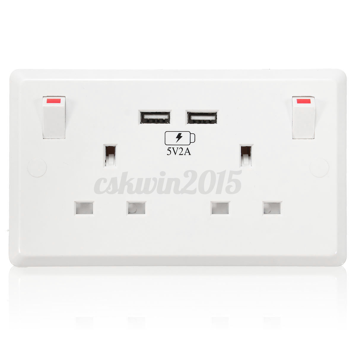 13-16 Amp Double 2 Gang Switch Socket Wall Plug Socket UK/US/EU ...