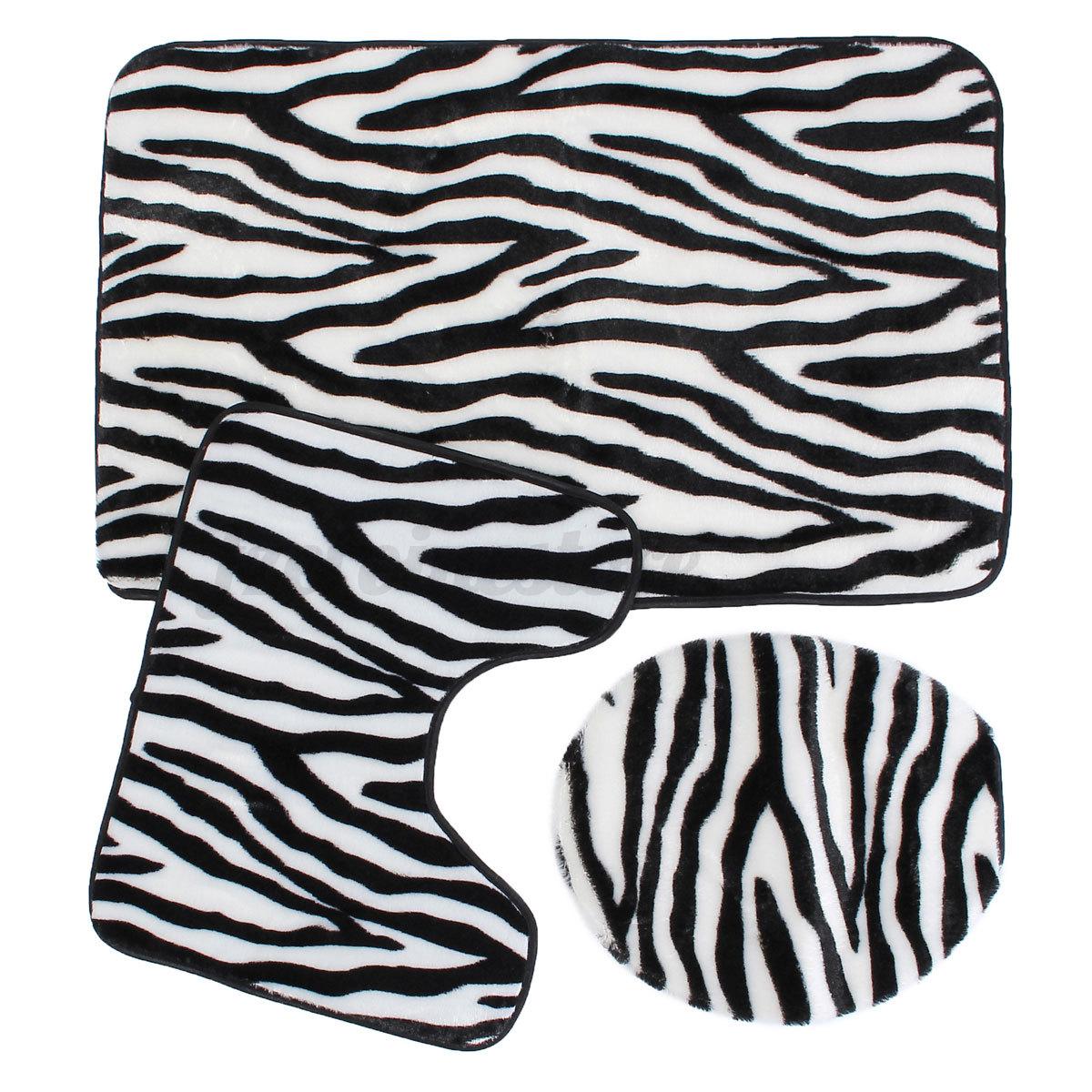 3 Pc Zebra Leopard Print Toilet Cover Set Bathroom Mat Rug