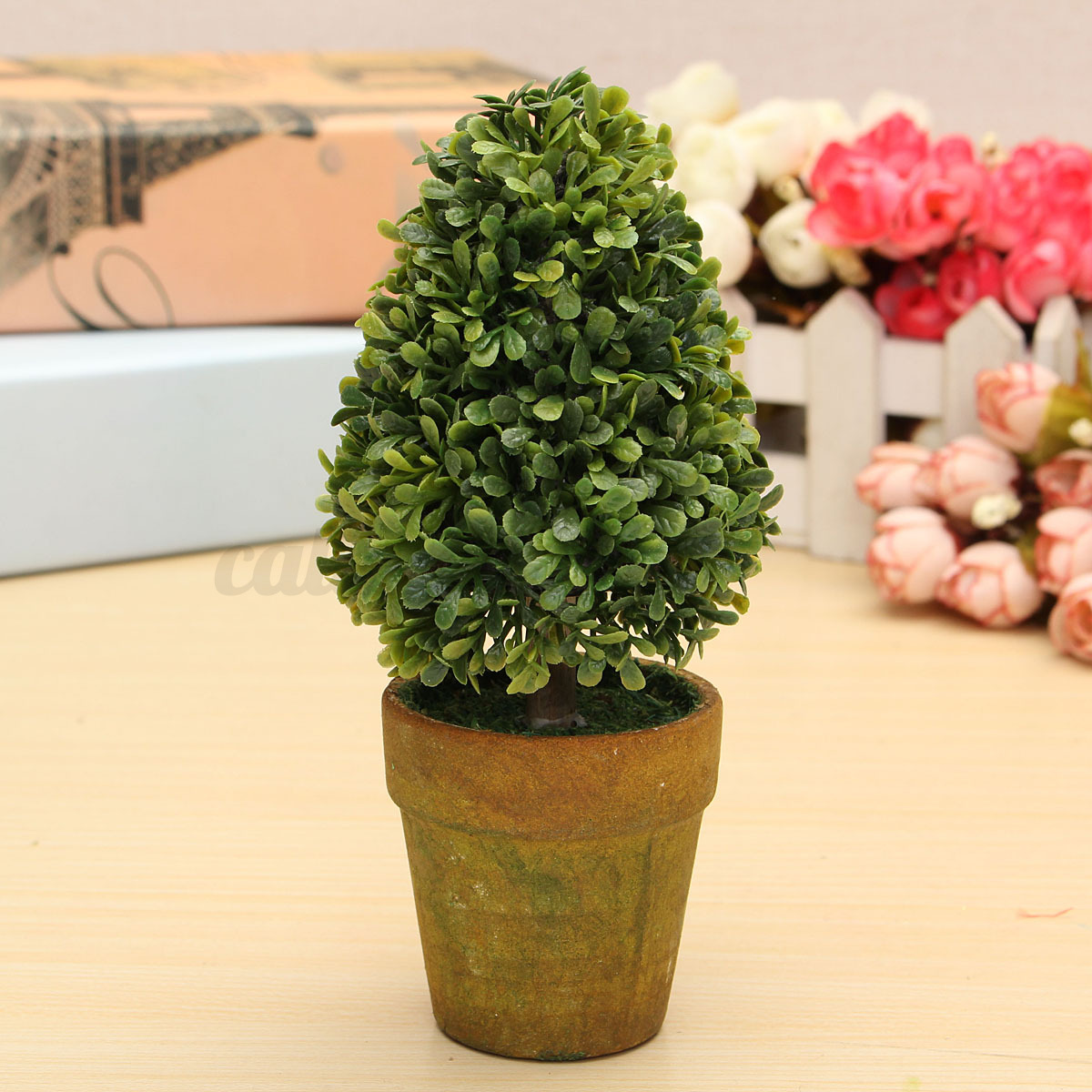 Artificial Plastic Trees In Pots Plant Potted Decor Garden