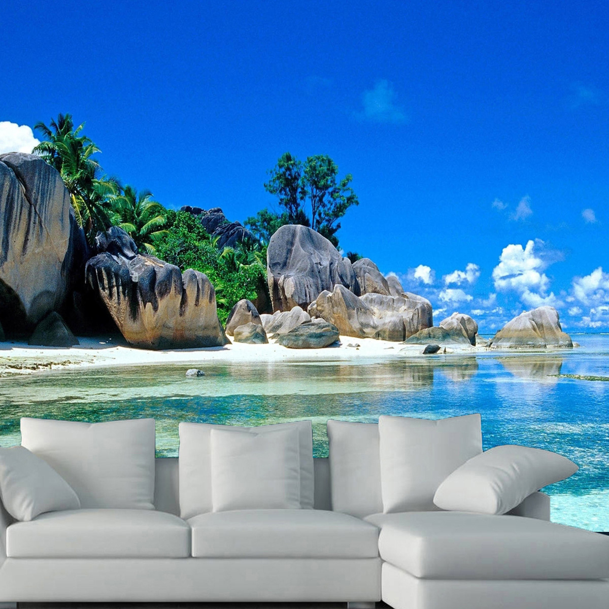 3d large bedroom living mural beach sea island landscape for Beach wall mural sticker
