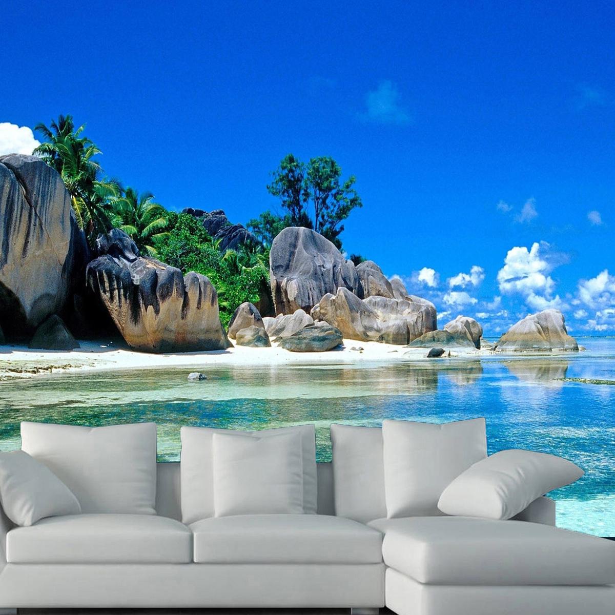 3d large bedroom living mural beach sea island landscape for Beach wall mural sticker