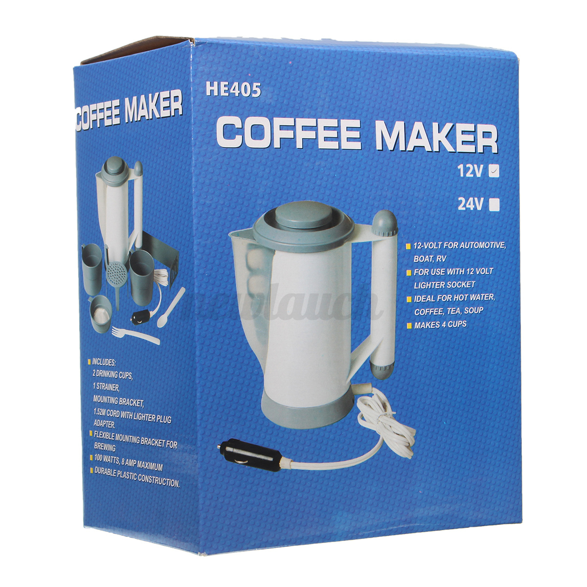 12V Portable 1000ML Coffee Maker Hot Water Pot Car Boat Camping Tailgating 2 cup