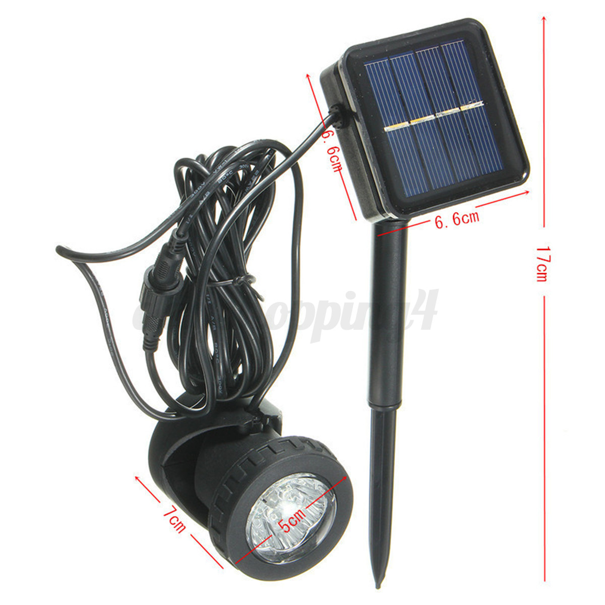 Lampe projecteur solaire 6 led spotlight submersible sous for Lampe led jardin