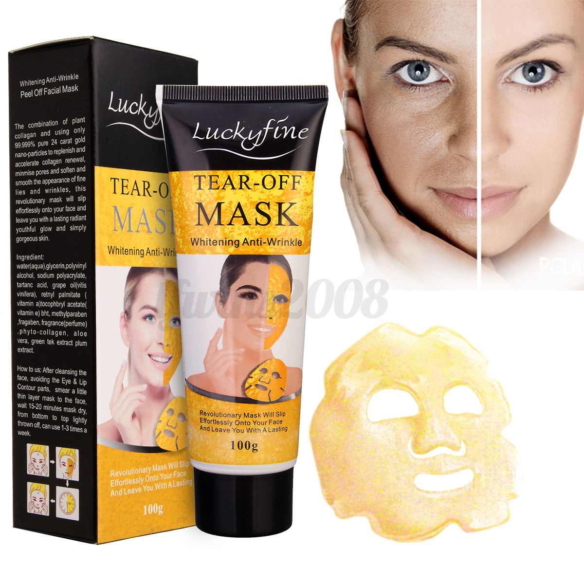 24k or collag ne dor hydratant masque peau anti rides ge visage facial peeling ebay. Black Bedroom Furniture Sets. Home Design Ideas