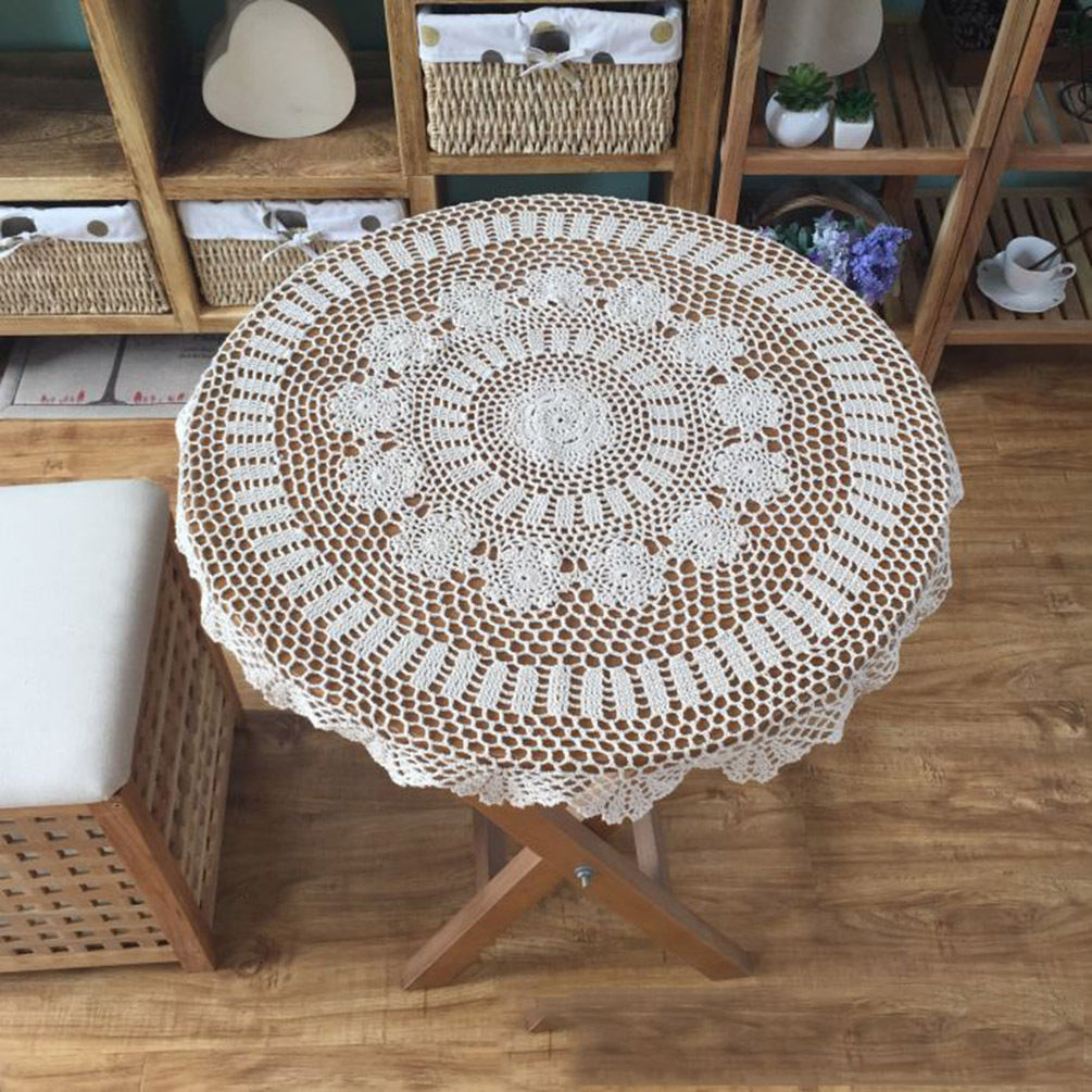 vintage lace round crochet tablecloth table cover handmade party home d cor ebay. Black Bedroom Furniture Sets. Home Design Ideas