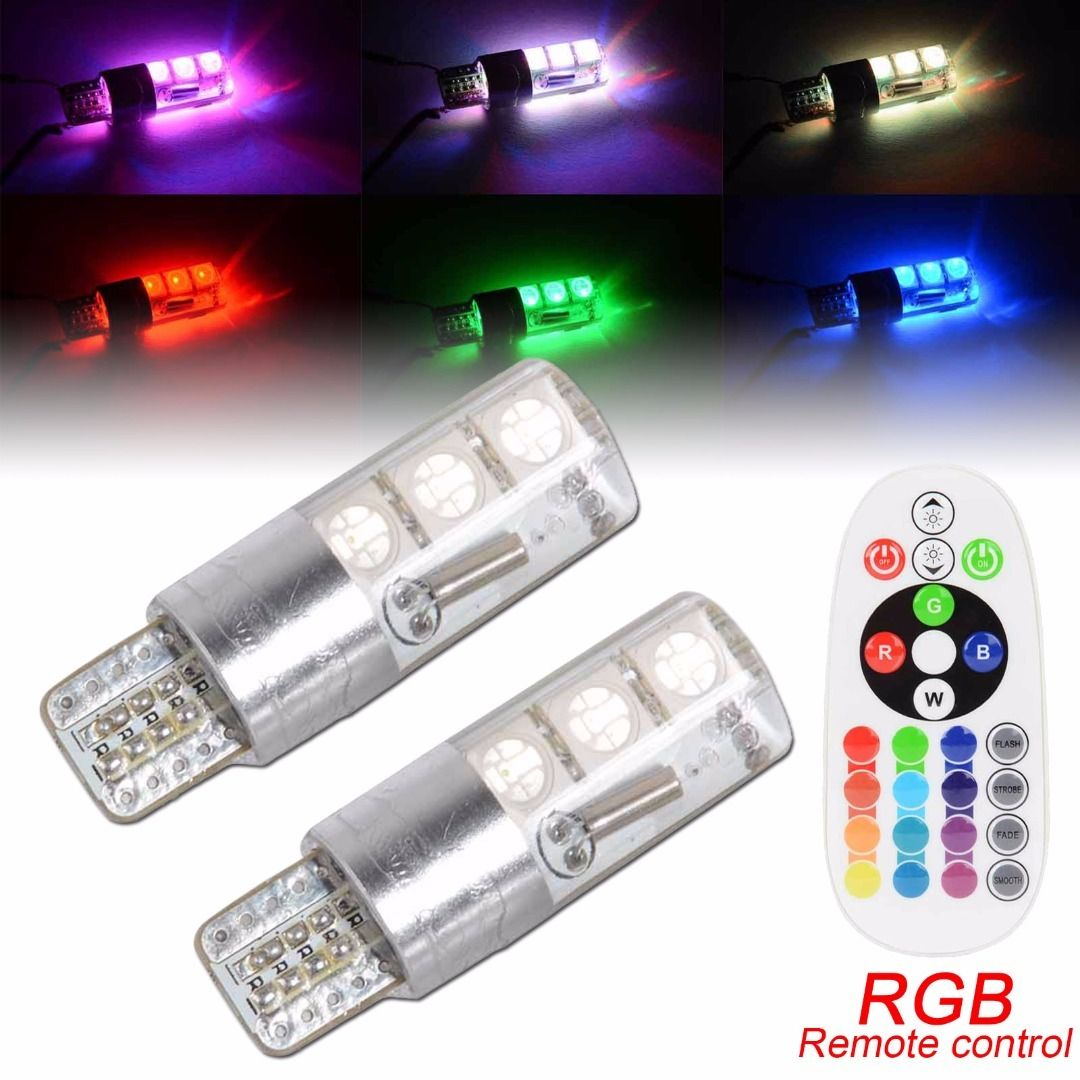 2x dc12v t10 5050 6 smd rgb led car dome interior reading light remote control ebay. Black Bedroom Furniture Sets. Home Design Ideas