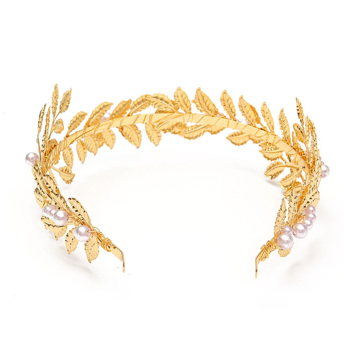 Women Bridal Wedding Prom Gold Pearl Leaf Hair Band Headband Tiara  Accessories  5e7b23d7a4e
