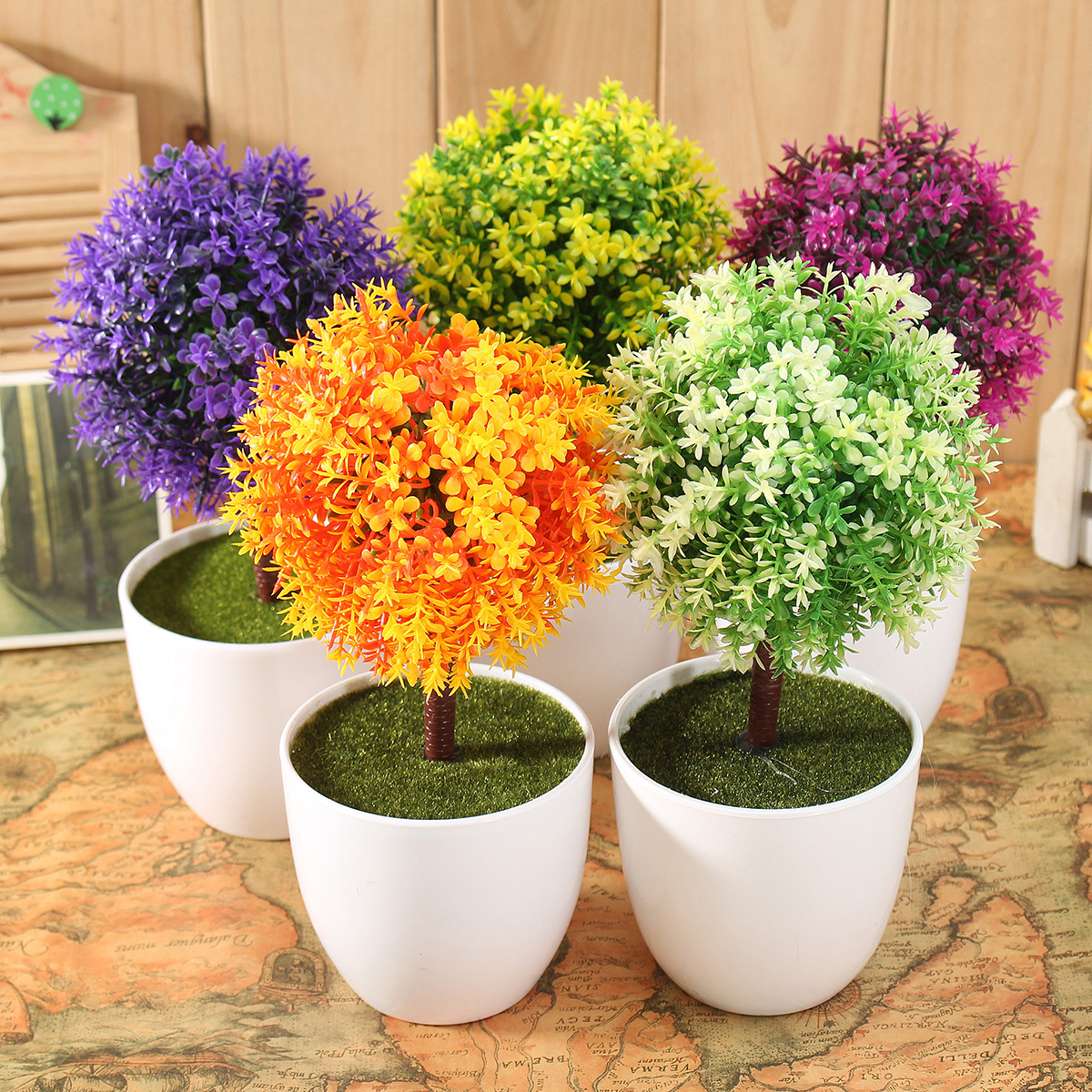 Artificial topiary tree ball plants pot garden home office for Outdoor decorating with potted plants