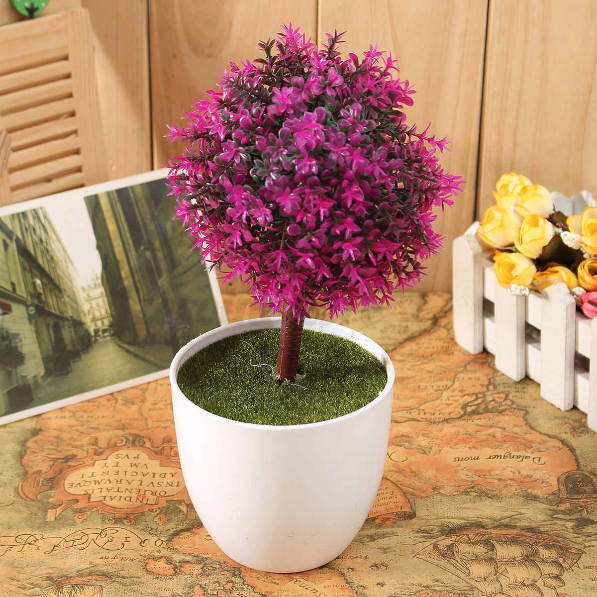 Artificial topiary buxus tree ball plants pot garden for Artificial plants indoor decoration