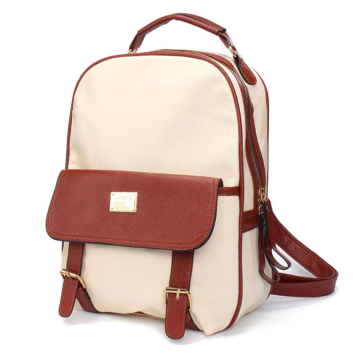 Women-Girl-Student-PU-Leather-Travel-Handbag-Campus-School-Backpack-Shoulder-Bag