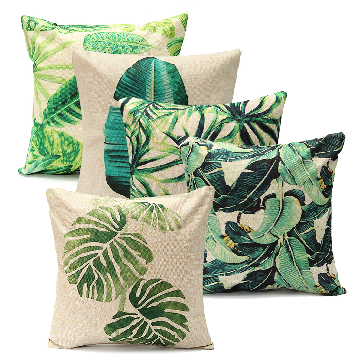 Green Leaf Cotton Linen Cushion Cover Throw Pillow Case Sofa Home Decoration 18