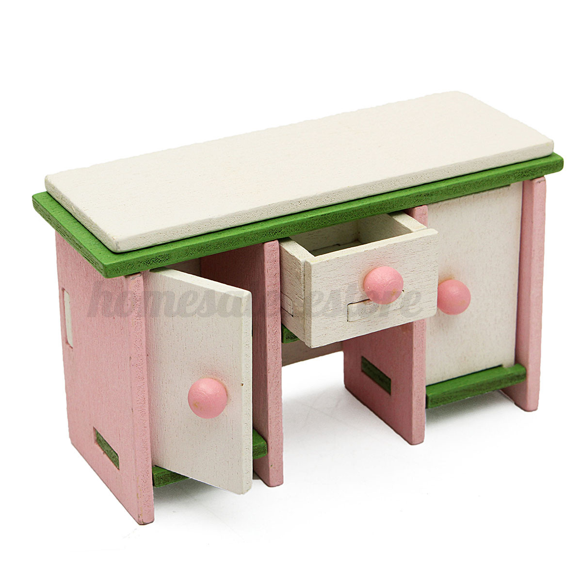 Doll House Miniature Bedroom Wooden Furniture Set Kids Role Pretend Play Toy Ebay