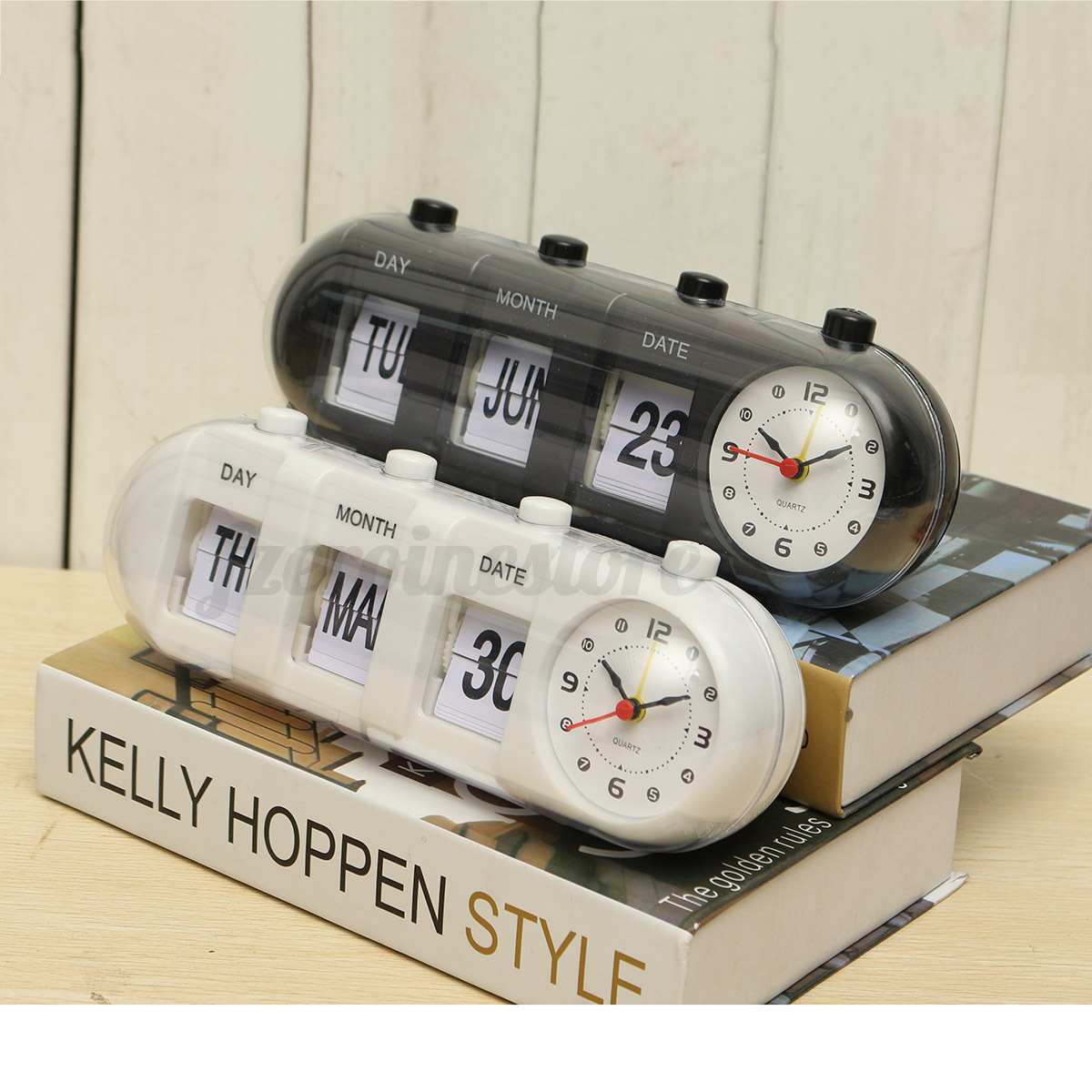 1x retro flip digital quartz desk alarm clock day date calendar time display ebay. Black Bedroom Furniture Sets. Home Design Ideas
