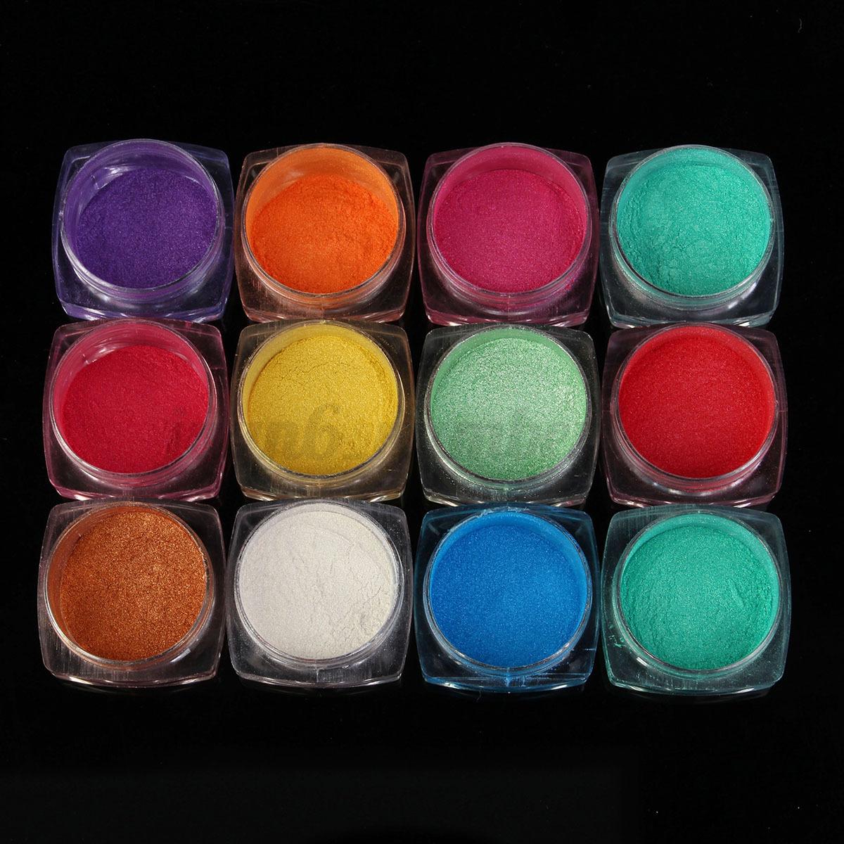 Kit 12 colori pigmenti polvere effetto specchio unghie - Polvere effetto specchio unghie ...