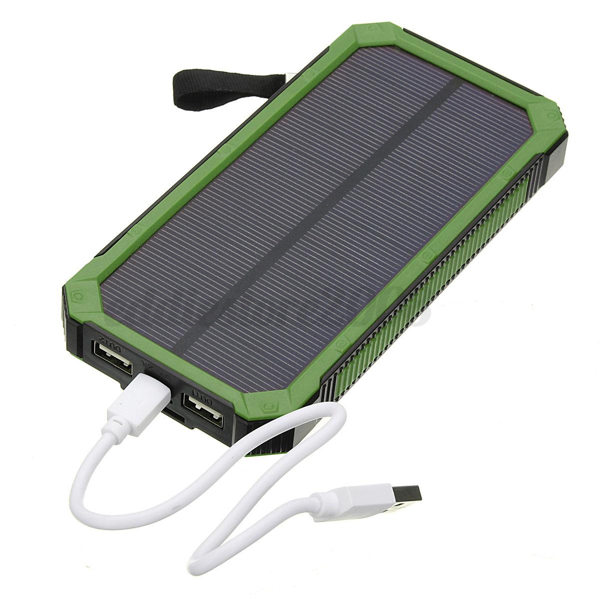 100000mah solar power bank portable external battery dual for Usb c portable charger