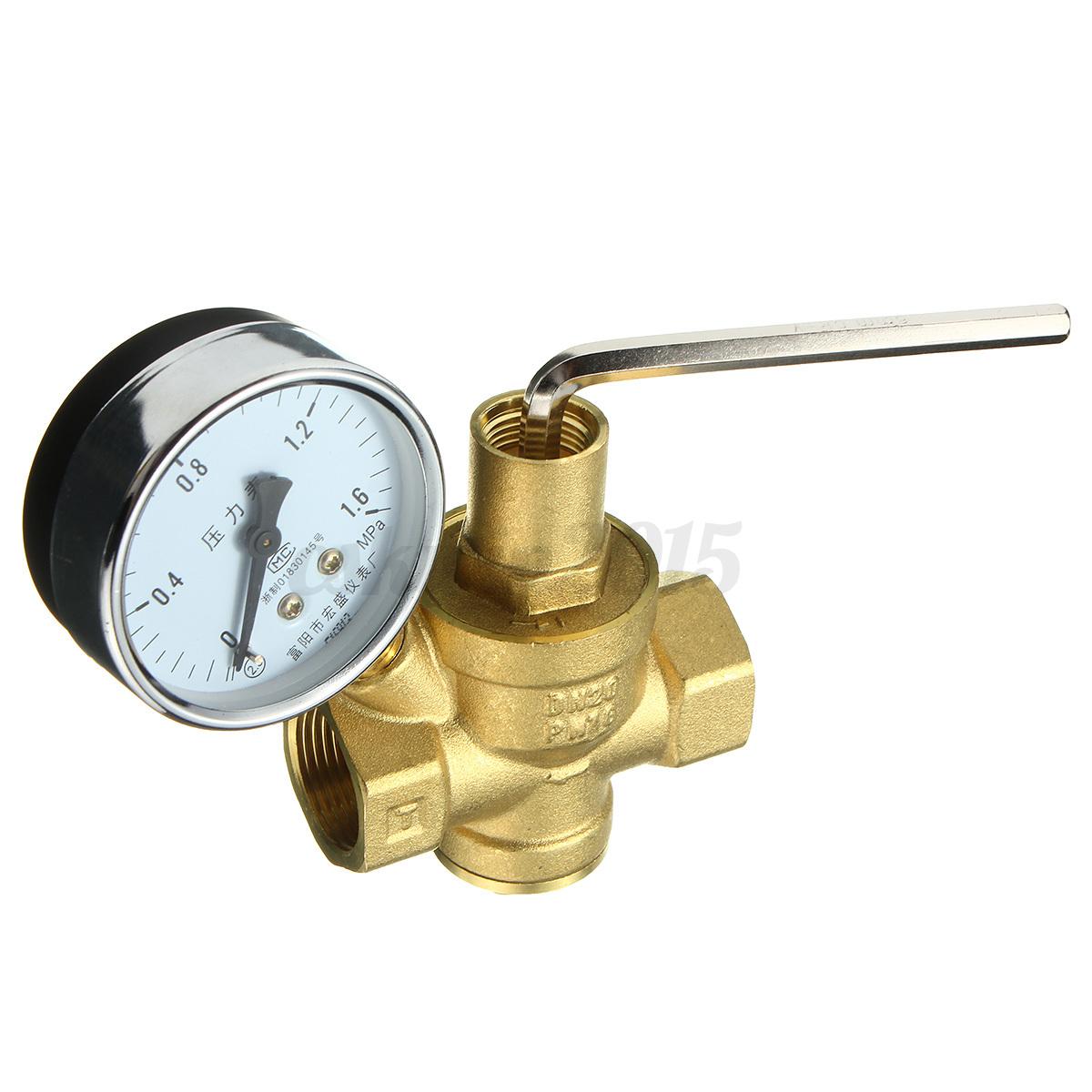 dn20 3 4 39 39 bspp brass water pressure reducing valve with adjustable gauge flow ebay. Black Bedroom Furniture Sets. Home Design Ideas