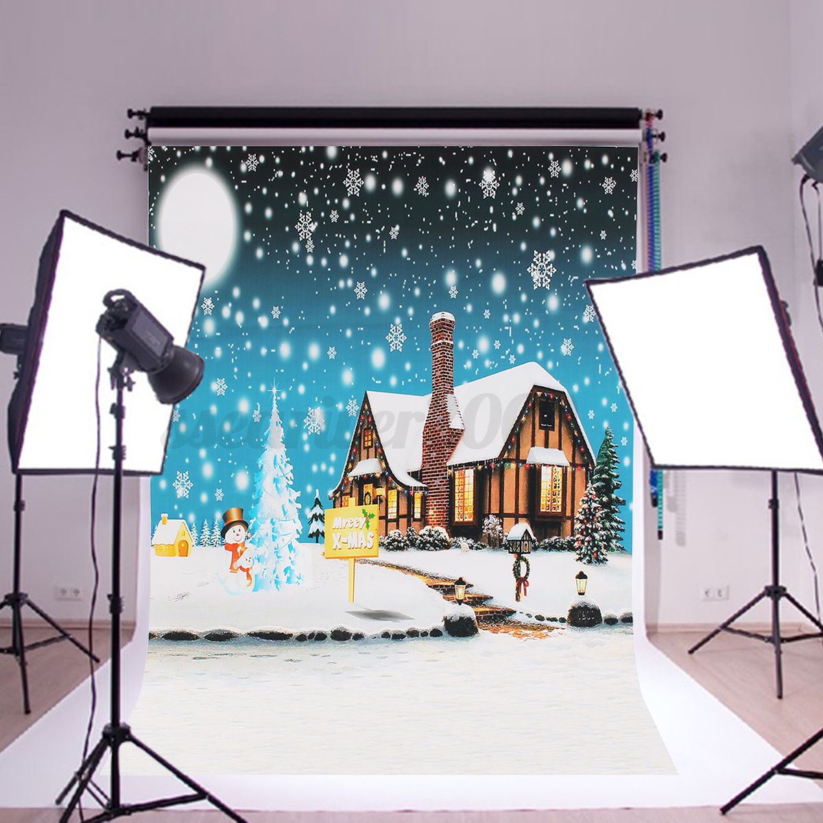 toile de fond backdrop tissu photographie studio photo no l neige d cor 90 60cm ebay. Black Bedroom Furniture Sets. Home Design Ideas