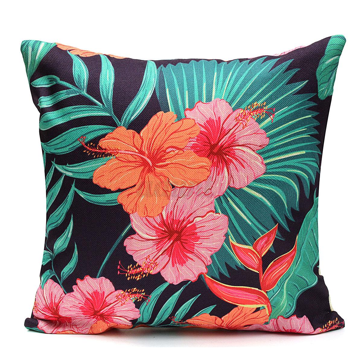 Home Decor Vintage Cotton Linen Pillow Case Sofa Waist Throw Cushion Solid Cover