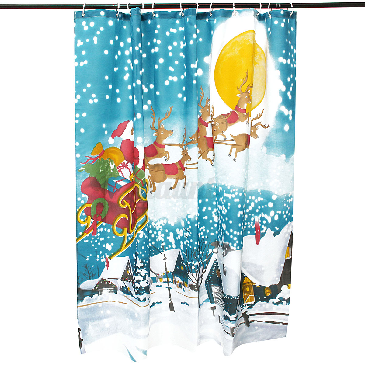 Christmas shower curtains on ebay -  Picture 4 Of 6