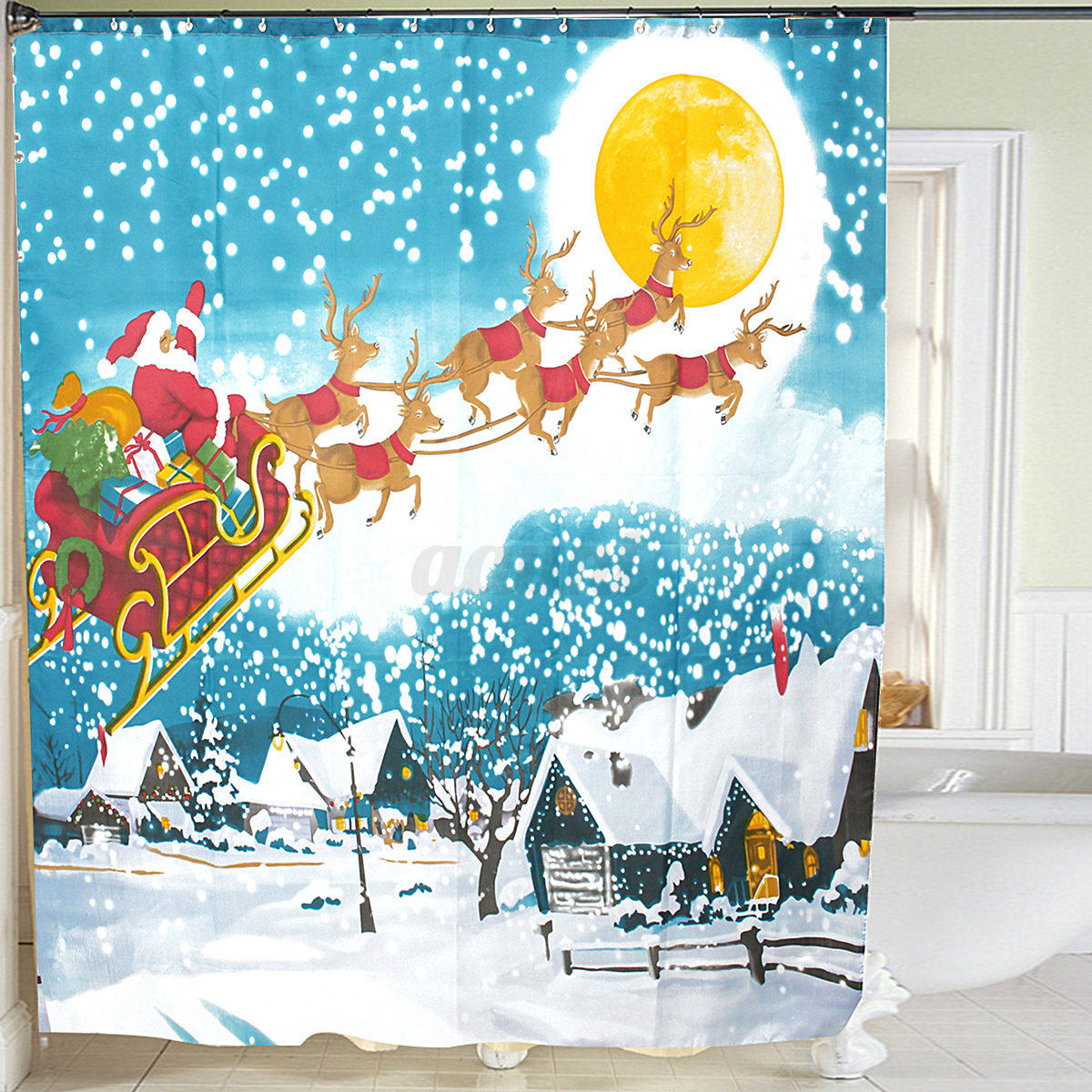 Christmas shower curtains on ebay -  Picture 2 Of 6