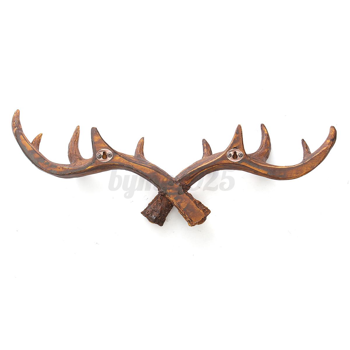 50cm Vintage Deer Antler Hook Rack Wall Hat Coat Hanging