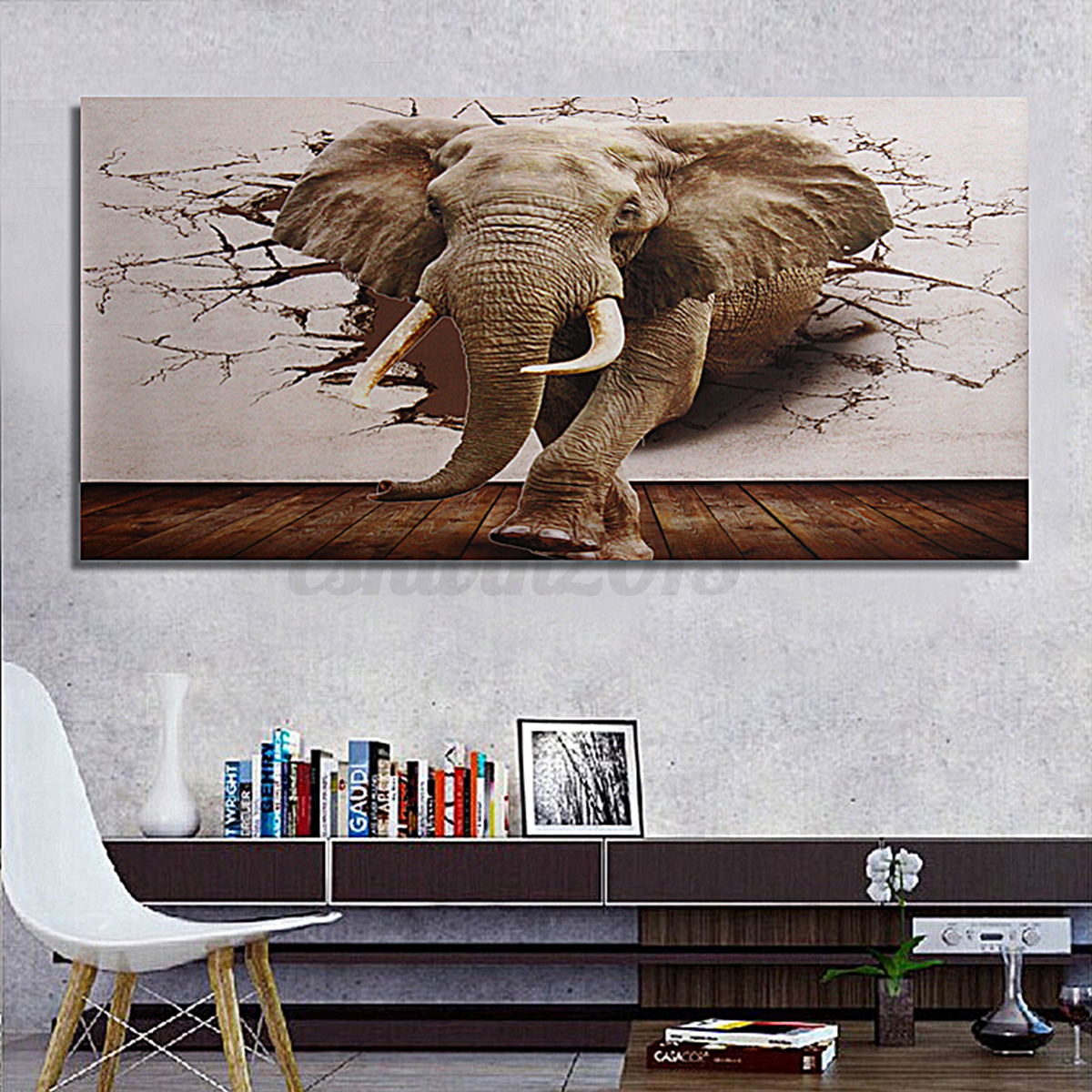 3d silk huge elephant wallpaper mural roll modern wall for Elephant wall mural