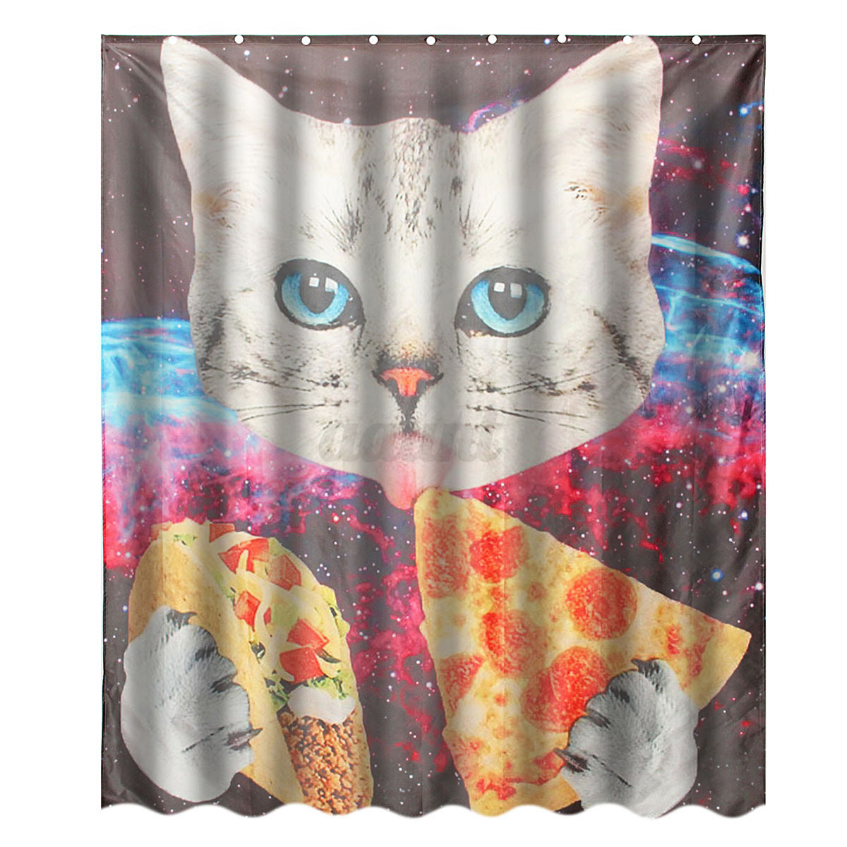 Various shower curtain waterproof polyester fabric for Space pizza fabric