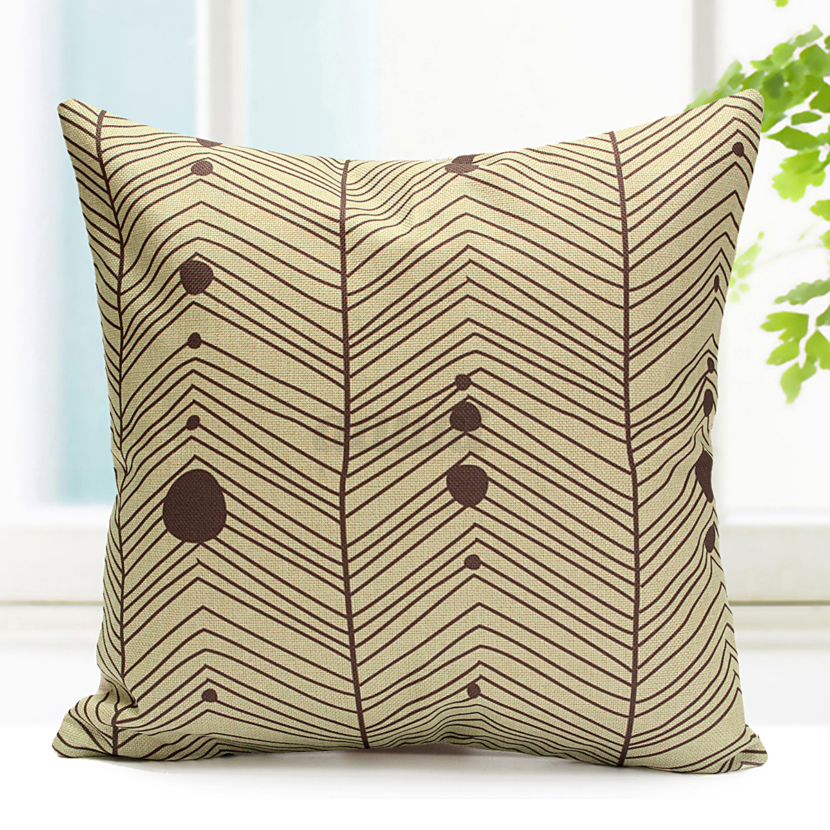 Cotton linen lattice stripe cushion cover throw pillow for Decorative bed pillow case