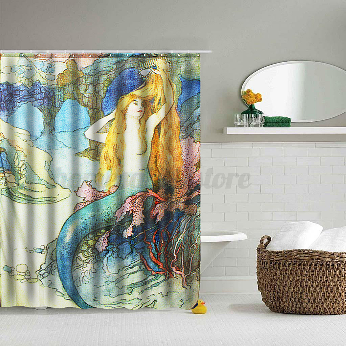 Details About Mermaid Panel Sheer Polyester Fabric Bathroom Shower Curtain Decor Hooks Set