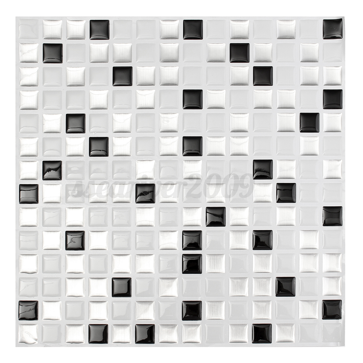 3d mosaic tile modern wallpaper foil sticker bathroom for Black 3d tiles wallpaper