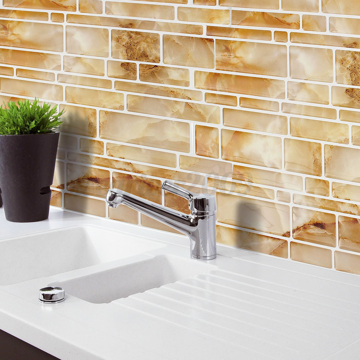 3d mosaic tile modern wallpaper foil sticker bathroom - Stickers cuisine carrelage ...
