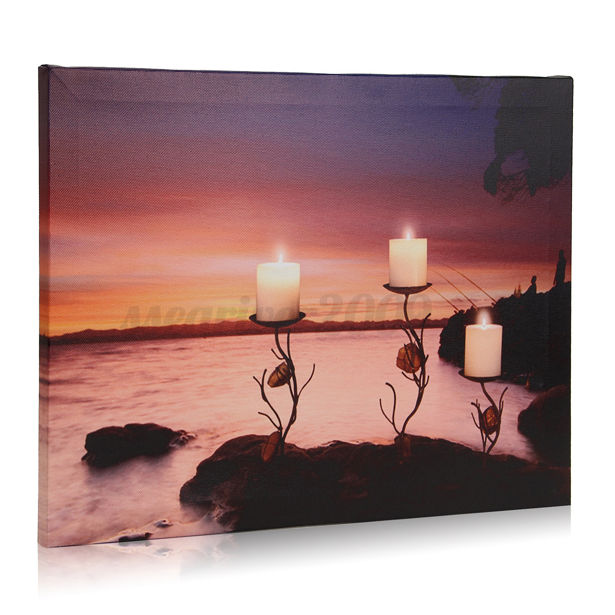 led light up winter merry christmas canvas wall painting picture xmas home decor ebay. Black Bedroom Furniture Sets. Home Design Ideas
