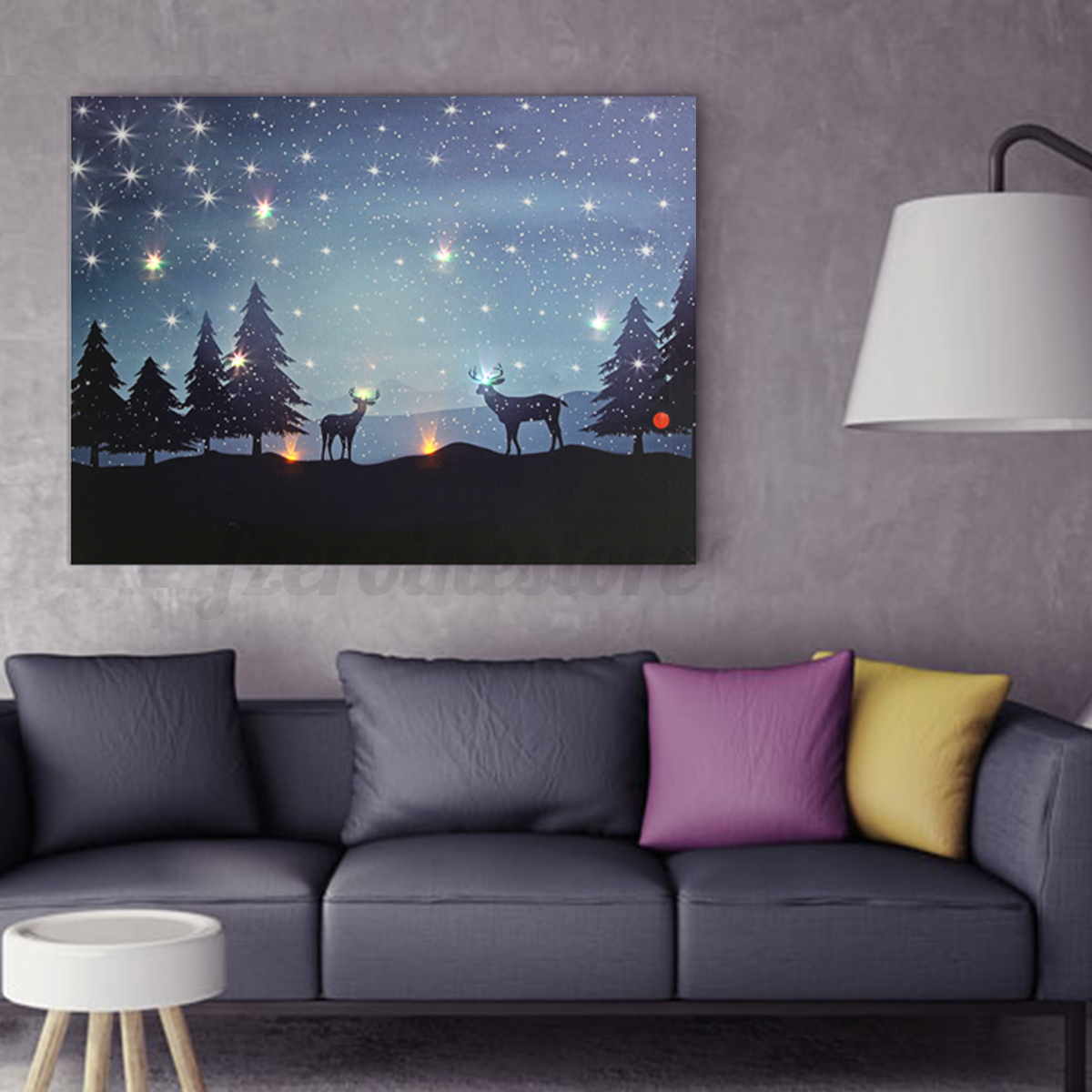 Led light up christmas reindeer canvas print picture wall for Wall hanging
