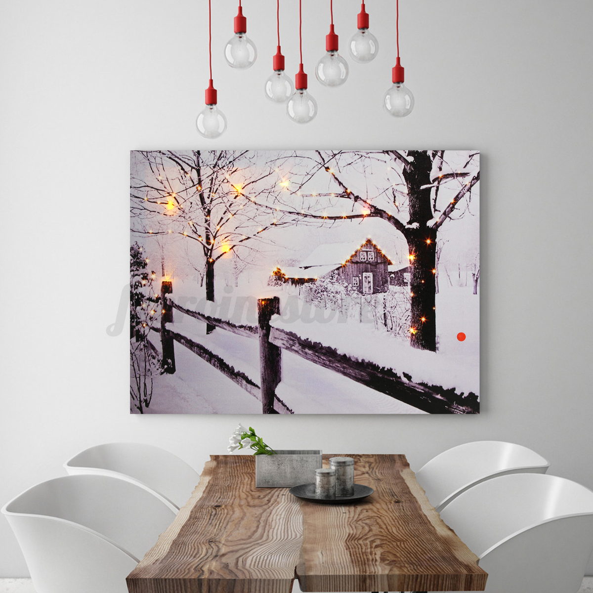 LED Light Up Christmas Reindeer Canvas Print Picture Wall Hanging Decor 30x40cm